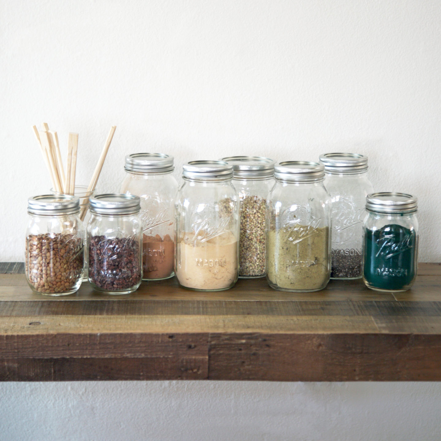 kitchen design, mason jars, powders, storage